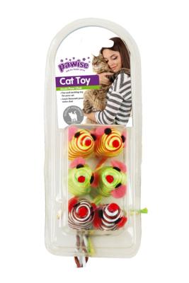 28281 Renkli Fare Kedi Oyuncağı 6'lı