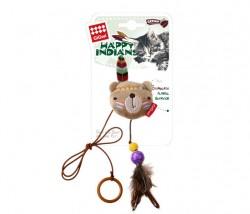 GiGwi - 7246 Peluş Tüylü Ayı Oyuncaklı Parmak Kedi Oltası