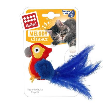 GiGwi - 7380 Melody Chaser Peluş Makaw Papağan Sesli Oyun.