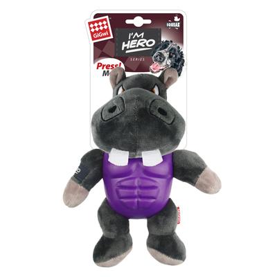 GiGwi - 8090 Sesli Süper Kahraman Hipopotam Peluş Oyuncak