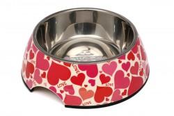 Super Design - AP990013 L Pembe Kalp Desen Melamin Mama Kabı