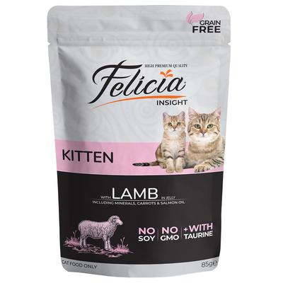 Felicia - Felicia Tahılsız 85 gr Yavru Kuzu Etli Yaş Kedi Maması 12 Adet
