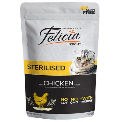 Felicia - Felicia Tahılsız 85 gr Sterilised Tavuklu Yaş Kedi Maması 12 Adet