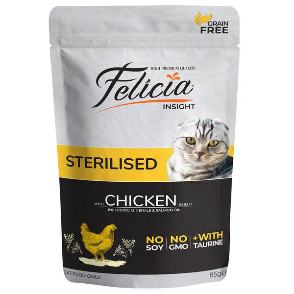 Felicia Tahılsız 85 gr Sterilised Tavuklu Yaş Kedi Maması 12 Adet