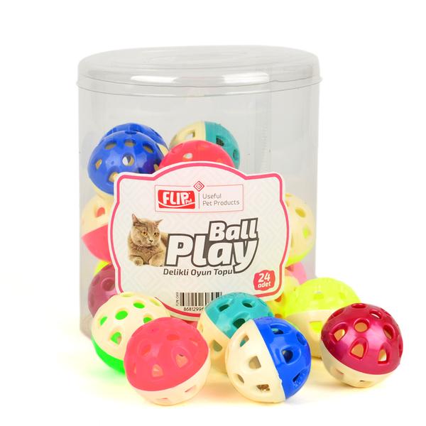 Flip Kedi Oyun Topu Delikli 24'lü