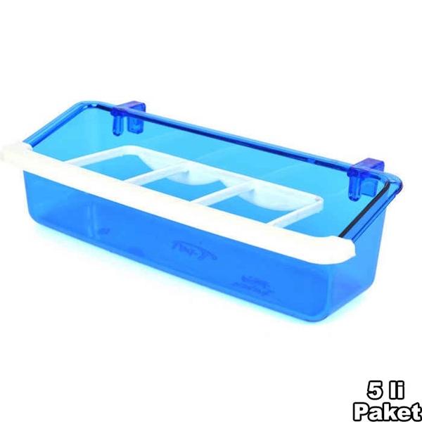 Izgaralı Lüx Yemlik Mavi 5'li 15 cm