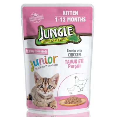 Jungle - Jungle Yavru Kedi Tavuklu 24 Adet 100 g Pouch