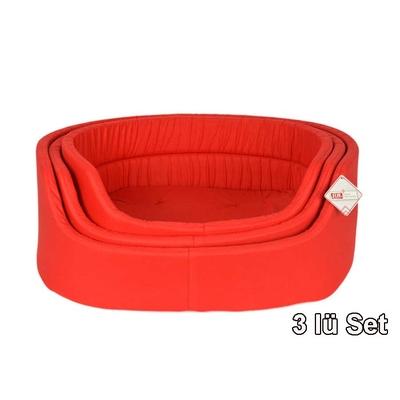 Pet Preety - Kumaş Yatak 3'lü Set Kırmızı