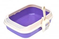 Flip - Lüx Açık Kedi Tuvalet Kabı Mor