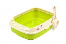 Flip - Lüx Açık Kedi Tuvalet Kabı Yeşil