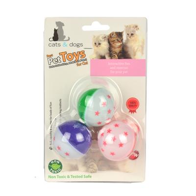 ZM4-4321 Kedi Oyun Topu Renkli Zilli 3'lü - Thumbnail